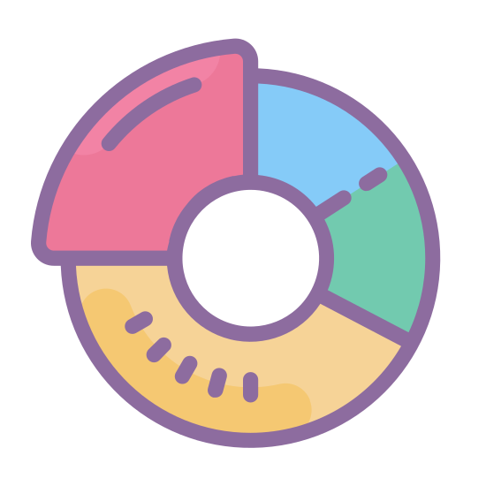 Doughnut Chart icon. The icon is shaped like a circle with a smaller circle at the center. The main circle is divided into three section. The larger section at the left is plain, the smallest section at the top right is striped, and the medium size portion towards the right is dotted.