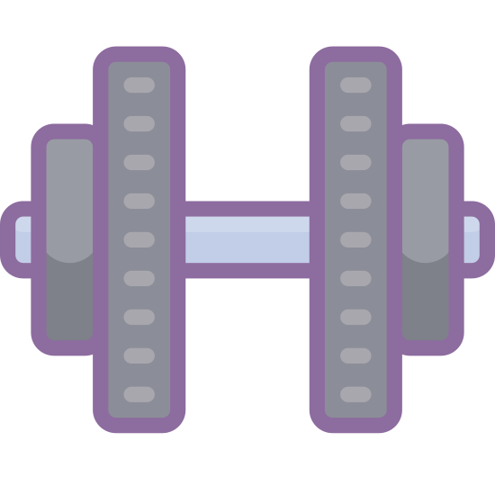 Hantel icon. It is a logo of a dumbbell. It has one bar with four weights. Two weights on each side. The two inner weights are the largest and the outer weights are slightly smaller. The bar and weights have square corners.