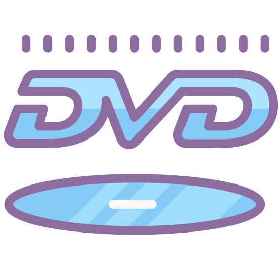 """DVD Logo icon. It's the normal """"DVD"""" logo. On the bottom is a dvd disc laying close to flat and then above that are the letters """"DVD"""" written in outline and all connected and slightly italicized."""