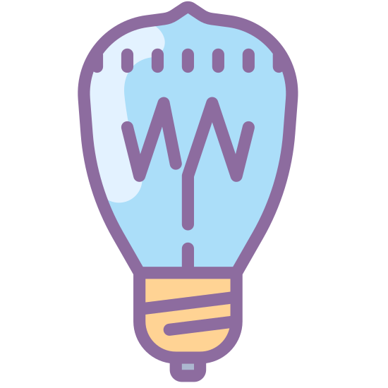 Illumination  icon. It's a logo of Edison Bulb reduced to an image of a basic light bulb. It looks like an ordinary light bulb but has a classic look to it. The Edison Bulb is one of the first bulbs created.