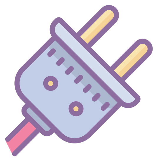 Elektryczny icon. This is an icon for depicting something that is electrical. The image is of a plug with the plug the main focus. The wire is small and cutoff on the bottom left of the picture. The plug has two prongs.