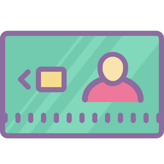 Smart Card icon. There is a small rectangular, card-type shape with rounded edges. On the left side of the card there is an arrow pointing left and immediately next to the arrow is a square. On the right side there is the upper body (shoulder, neck and head area) of a person.