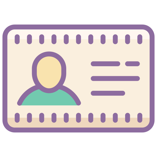 Name Tag icon. This is an Icon of an Employee Card reduced to a card with a picture of a human on it. The human is centered on the middle of the card. There are two lines of writing underneath the human, possible identifiers.
