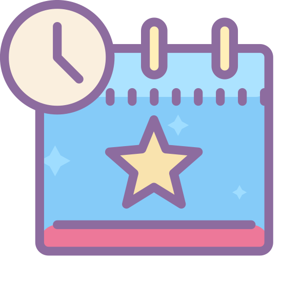Event Accepted Tentatively icon. This is a picture of a calendar with a star in the middle of it. on the bottom right hand corner is a clock or watch's face. the time showing on it is 4 o'clock.