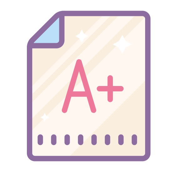 Egzamin icon. The exam icon is presented by a piece of paper, it is a rectangle shape object with a folded corner. In the corner there is a grade in the center such as an A+. The letter is on the paper to represent that it is a graded exam.