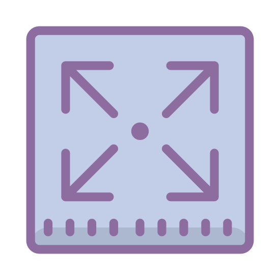 Expand icon. The Expand icon is made up of four arrows, the arrow head is a right angle and the shaft is a straight line.  The arrows start around the center of an invisible square and the arrows point to a corner of the invisible square.  The arrow heads each make a corner of the invisible square.