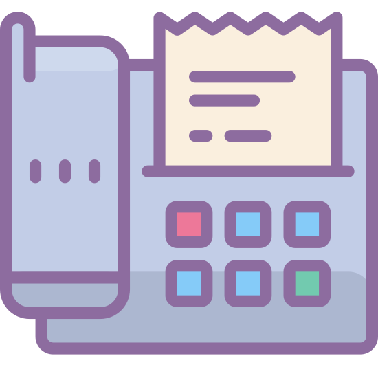 Fax icon. This icon features a phone connected to a fax device. The icon as a whole is fairly square and the fax device includes a 9 digit keypad for dialing.