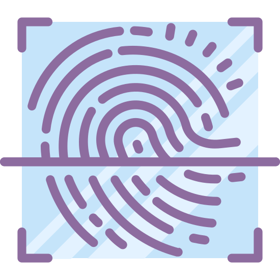 Fingerprint Scan icon. There are is a right angles at four corners, basically making a box but without any lines connecting the right angles. Inside the space made by the four corners is a fingerprint with a horizontal line through it. The line is slightly below the middle of the finger print