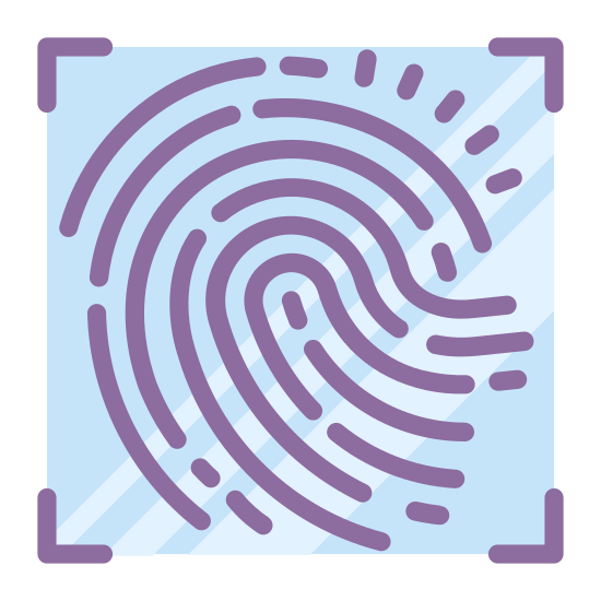 Linie papilarne icon. This looks like a zoomed-in finger print. There are many lines that start in the bottom right, curving up and to the left, and then ending in the bottom left. There's many breaks in the lines.