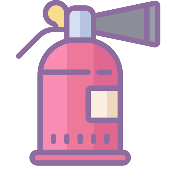 Fire Extinguisher icon. It is an icon of a fire extinguisher. It is the shape of a bottle with a nozzle on top. The nozzle is a rectangle it a cone shape attached on the right side. On the left there is a tiny circle with a string underneath it.