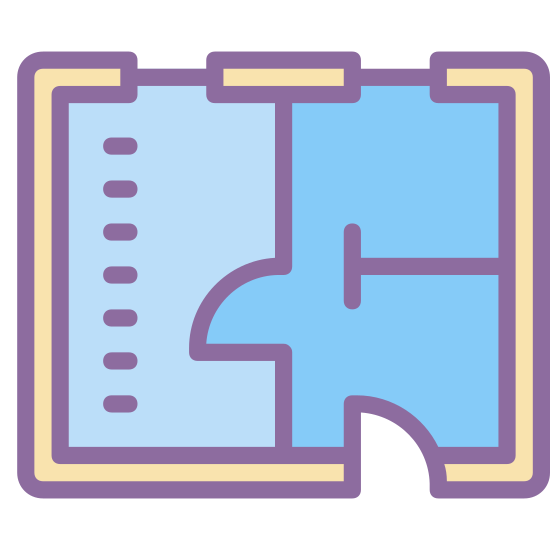 Plan piętra icon. The image is a square that isn't fully closed. At the top the line is broken like an entrance. Inside the square are some lines that partially section it off. The lines at the bottom look like a capitalized letter T.