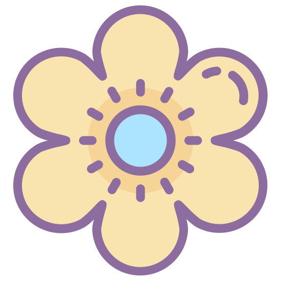 Kwiat icon. The icon is a five petaled flower, that looks very much like a cartoon rendition of a star. Each petal is of similar size and within the flower itself one can see a stamen that is made of five marks.