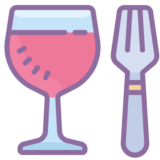 Food icon. This icon contains a glass and a fork. The glass is on the left, with a flat line on top. The line comes down to a straight line on both sides, then curves downwards and connects to a stem. The stem is two straight vertical lines that curve back outwards. To the right of the glass is a fork, with two short vertical lines on top. The third vertical line connects and curves down to a straight line for its handle.