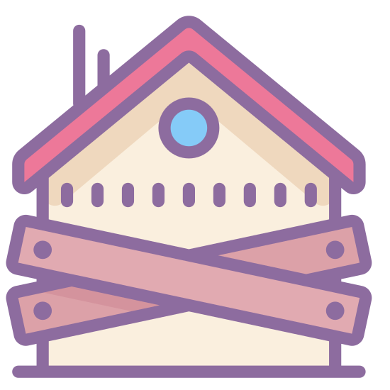 zajęcie hipoteki icon. This logo for foreclosure is a house with wooden boards nailed to it in the front. The house has an angled roof with a small chimney protruding from it's rear. The boards are nailed in an X pattern across the front to signify that the house has been foreclosed upon.