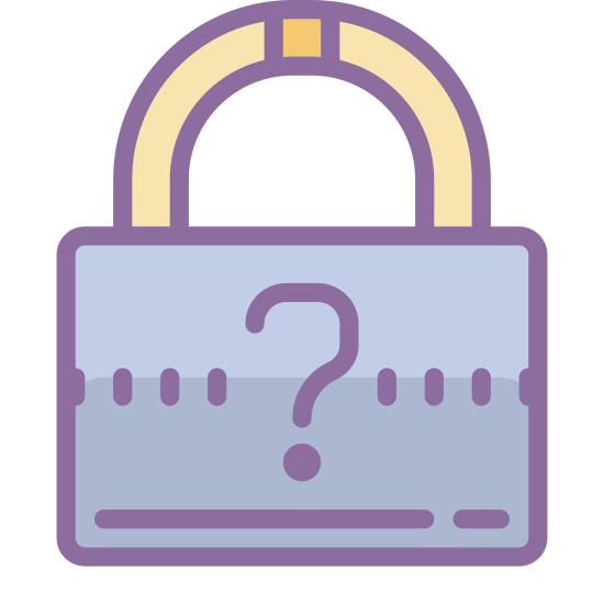 Mot de passe oublié icon. This icon is of a lock with a question mark. The lock is a padlock shown from the front and the question mark is on the body of it.