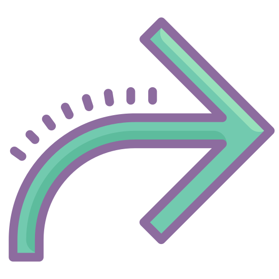 Forward Arrow icon. The image is an arrow pointing to the right. The pointed end is point directly to the right but the tail end comes up in a curve from below then turns right. The arrow is thick and outlined rather than being simple straight, thin lines.