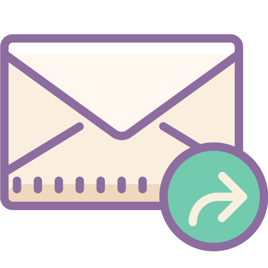 Forward Message icon. There is a rectangular envelope with the folded back. Underneath of it is an arrow pointing right as if to forward.
