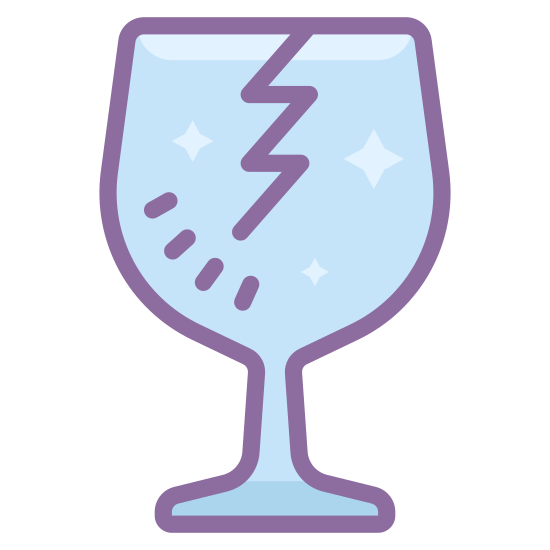 """Kruchy icon. This is an image of a wine glass. The wine glass has a crack from the top rim going down into the middle. This is exactly like the image you would see on many boxes to indicate """"fragile"""" or """"breakable"""" items within."""