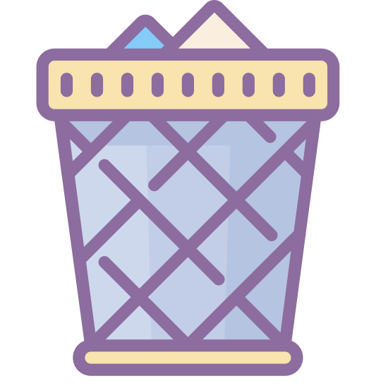 Full Trash icon. This icon is meant to represent a full trash can. It does this by using a rectangle of uneven sides stood on end and filled with cross hatched lines to represent the wire basket you often see in trash cans. Two small triangles are protruding out the top to represent the trash inside.