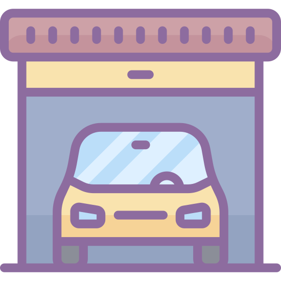 Garage icon. This is a car inside of a structure that is shaped like a house. The outside shape is like a triangle on top of a square but not lines separate it and the front of the car is visible inside.