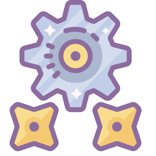 Gears icon. This icon has three gears in a triangular shape that are identical to each other. The gears have six cogs each and have a circle inside each one. They are not touching.
