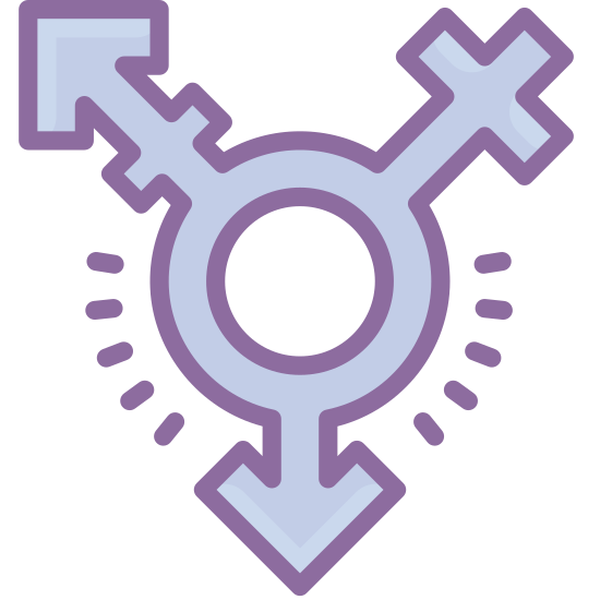 Transgender icon. The icon is a logo for genderqueer. It is a picture of all the gender signs combined, at the circle being the center.