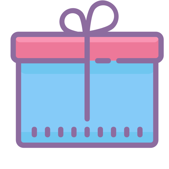 Presente icon. It's a logo to represent a gift and looks like a square box with a ribbon around it. The logo has a square lid on top of the square box an the ribbon on top is tied to look like tied shoe lace.