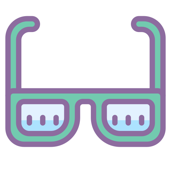 Glasses icon. Its an image of a pair of glasses. There are two semi circles spaced equally apart connected by a horizontal line. On far end of each semi circle is a vertical line with hooks on the end. It looks like a women's bra.