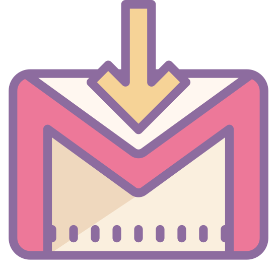 """Gmail Login icon. This is the G-Mail login logo. There is a rectangle which contains an """"M"""" that uses the left and right of the rectangle to form the left and right of the """"M"""". There is an arrow through the top that points down."""
