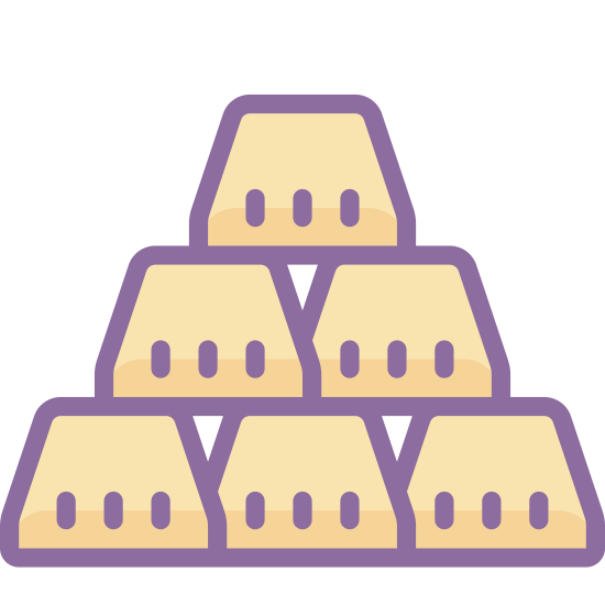 Gold Bars icon. Its gold bars stacked on each other. they are in trapezoid shape and are stacked in a pyramid shape. They have gaps in between each of the bars creating little upside down triangles.
