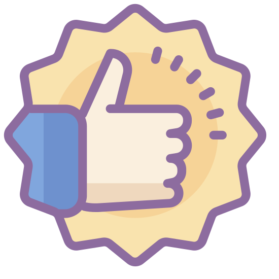 Bonne qualité icon. This is an image of a circle.  Inside of the circle is the profile of a hand.  The hand has only its thumb outstretched and is making a thumbs-up sign.