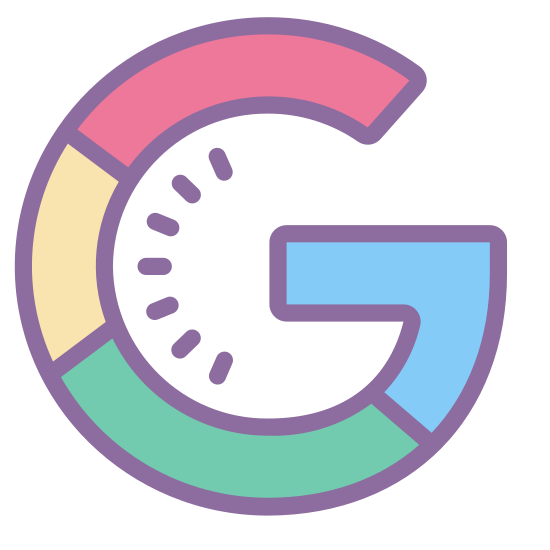 Googleのロゴ icon. This is the first letter of the Google logo. It is a large capital G, which is presented in a bubble letter style. It looks like a letter C, with a line going inward from the bottom most end point of the letter.