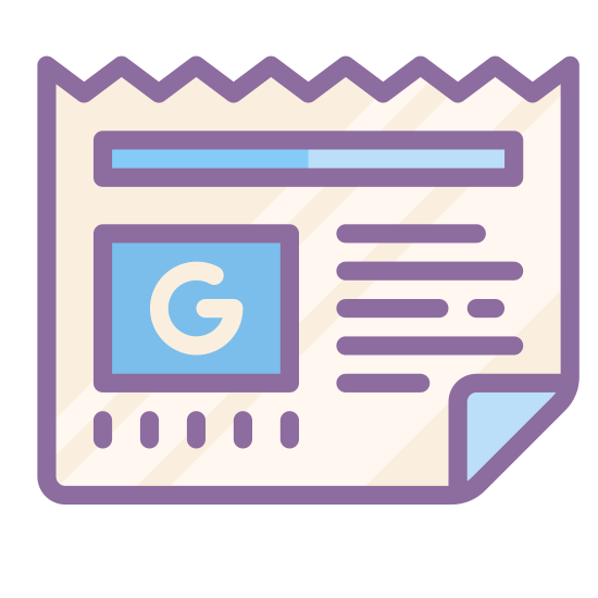 """Google News icon. This icon is a newspaper.  There is a small box on the left middle of the page with a gothic style letter """"g"""" in the middle to represent Google.  The top of the paper is cut in a zigzag pattern and the bottom right corner of the page is folded up."""