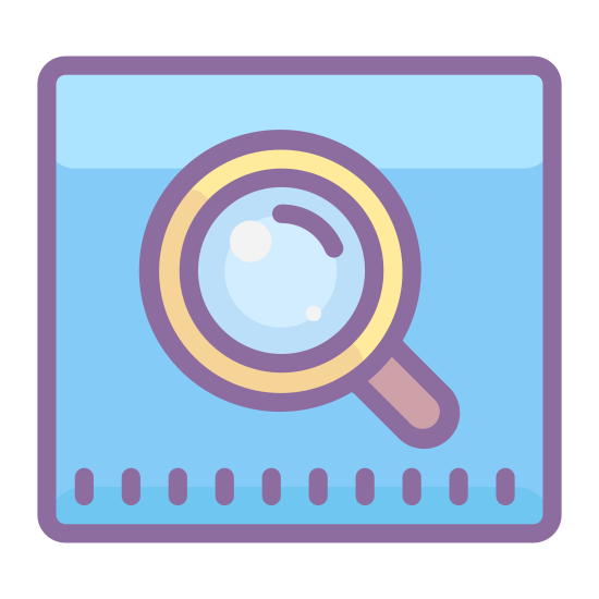 Google Web Search icon. This is a logo of a search - it features a small magnifying glass leaning to the left. This magnifying glass is placed in the center of a square with rounded corners.