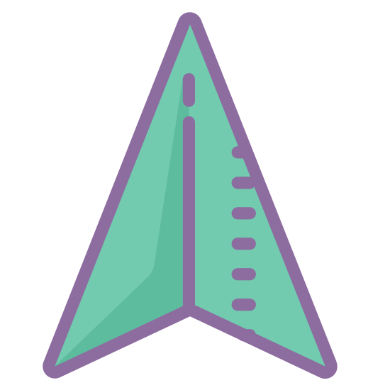 GPS icon. The symbol is for a GPS device and is an arrow shape. This kind of arrow represents a marker for location or direction when seen on the map of a GPS device.