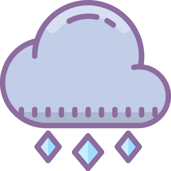 Grandine icon. This is a picture of a cloud with three circular puffs. The bottom is flat with three tiny triangular sharp pointed shapes coming out, almost like hail. They are going in a slanted downwards direction out of the cloud.