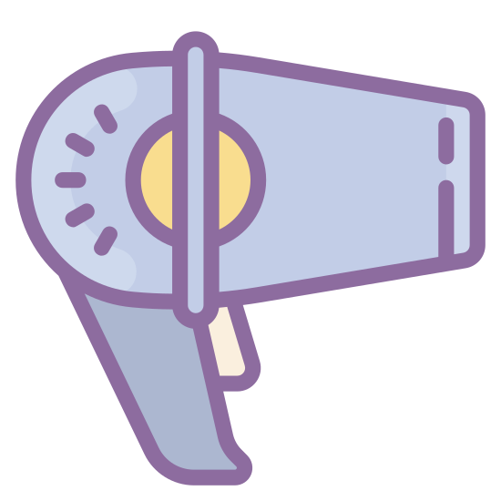 Hair Dryer icon. This icon is meant to represent a hair dryer. The handle is a rectangle with stylized edges and the blower motor is made up of a cone and circle combination. The business end of the dryer faces to the right and short wavy lines are coming from it to signify hot air.