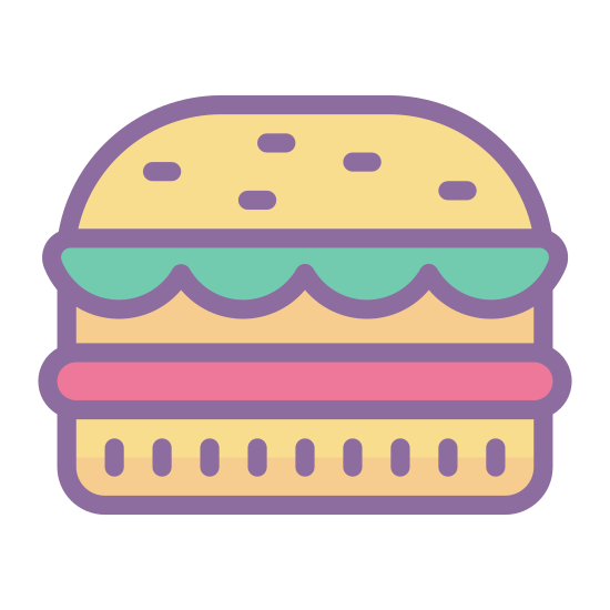 Гамбургер icon. This icon resembles a hamburger. There is a wide, rounded rectangle on the top and bottom and three smaller rectangles in between. The rectangle on top has three black dots. One of the sandwiched rectangles has a wavy bottom edge, another is a rigid rectangle and the third is a rectangle with rounded edges.