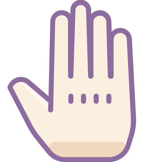 "Hand icon. This is a picture of a hand holding up all five fingers as if to say ""stop"". The thumb is sticking out to the side. The middle finger is the longest finger, while the pinky is the shortest."