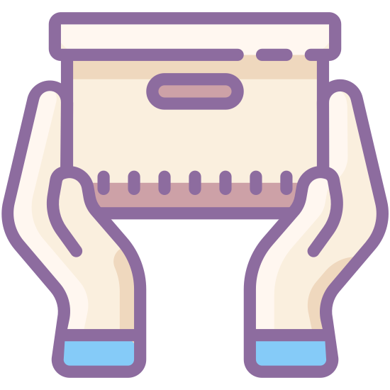 Handle With Care icon. The icon is a logo for handle with care. The icon is shaped like two hands that are about to grab onto a cube.