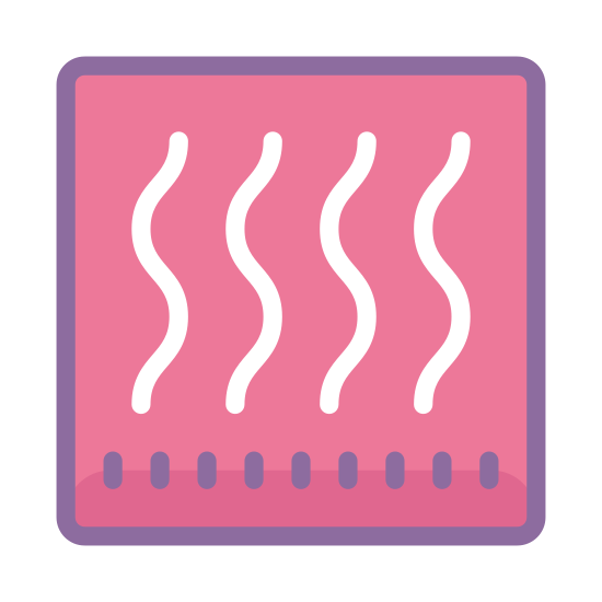 Heating icon. This image is a square with three vertical lines inside of it. These lines are slightly wavy and parallel and appear to signify the rising of warm air through a vent or furnace.