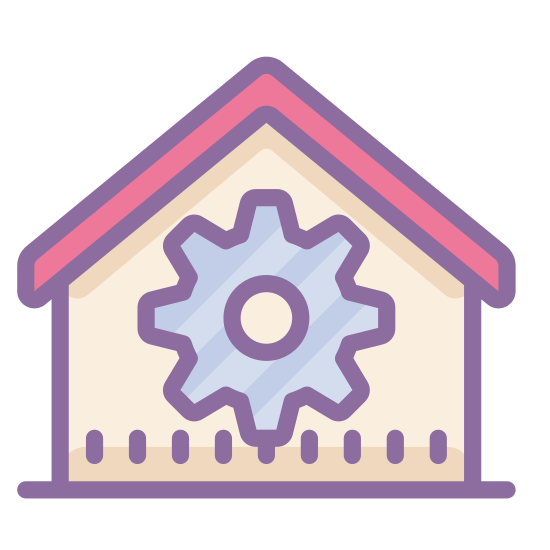 Home Automation icon. The home automation icon displays a house, and the house has a gear inside. The gear has six spokes and a hole in the center. The house has a roof that's slanted on both sides.