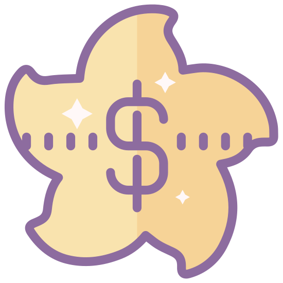 Hongkong Dollar icon. This is a drawing of a sort of star shaped object but it is not a perfect star the lines are not straight they are curved. In the middle of the start there is a big dollar sign taking up most of the middle.