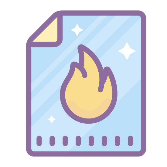 Hot Article icon. This is an icon depicting a hot article. There is a rectangle with the top-right corner bent over in a triangle shape. There is a flame on the document in the center.