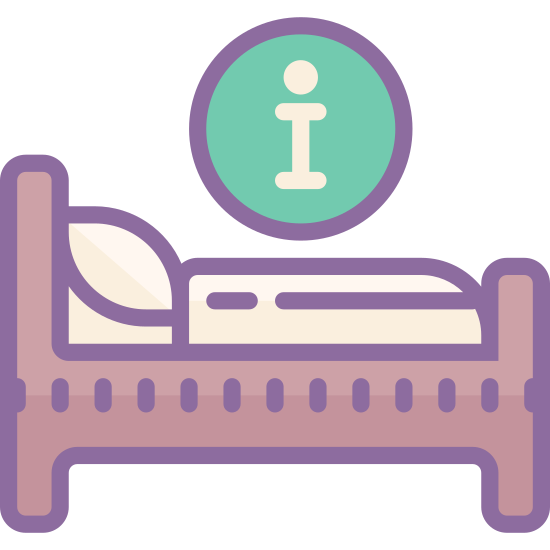 """Hotel Bed icon. In this icon is a person sleeping on a bed with an encircled letter """"i"""" above their head. This depicts to the onlooker the possibility of obtaining hotel/sleeping information."""