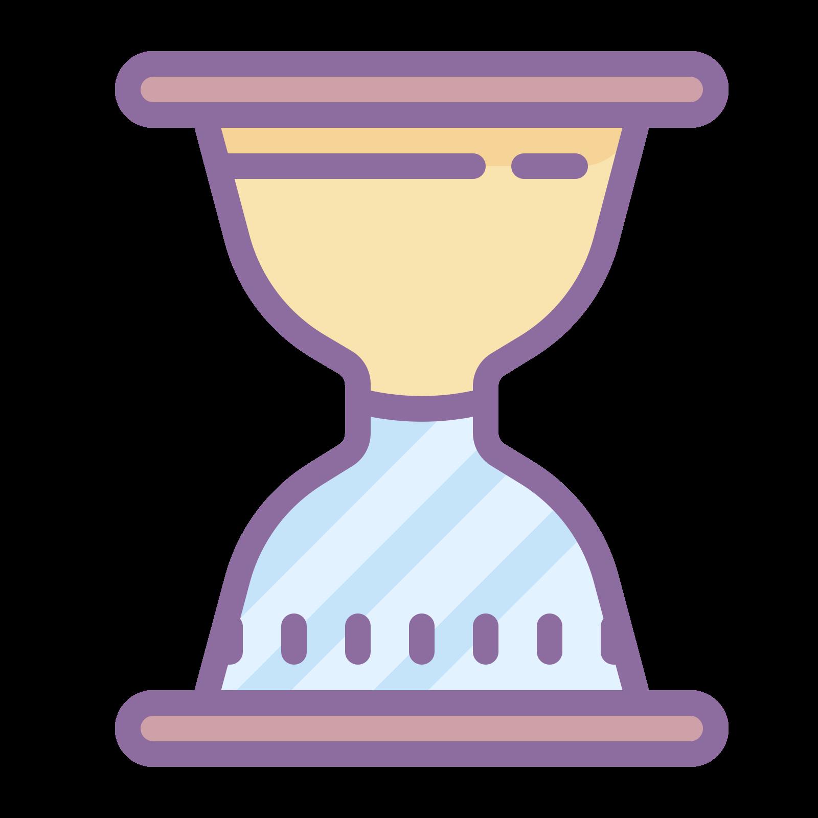 沙漏沙顶 icon. This icon has an hourglass with the sand filling the top portion of the glass. There is no sand in the bottom.
