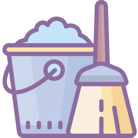 Gospodarowanie icon. A housekeeping icon is a bucket and a mop next to each other. A bucket is a cylinder shape with an open top and a handle attach to it. Inside the bucket there is foam, which is the soap, and the mop is there to show that it is to clean up the floors with the soap.