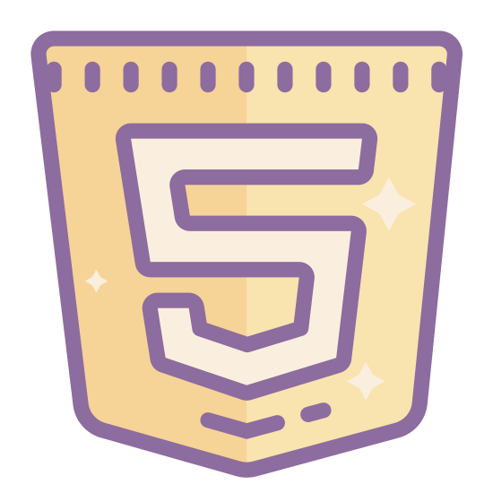 "Html 5 icon. This icon represents the Html 5 computer language. There is a pentagon pointing downwards with a block ""5"" in the center."