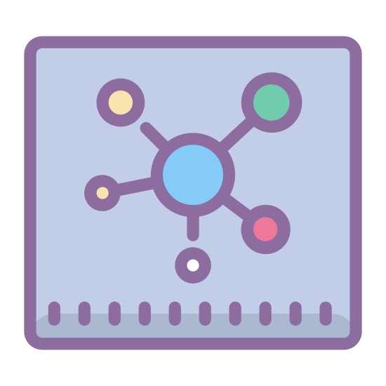 Hub icon. This image is of a big square with one circle in the center of the square and five smaller circles evenly spaced each one connected to the center circle by one line.