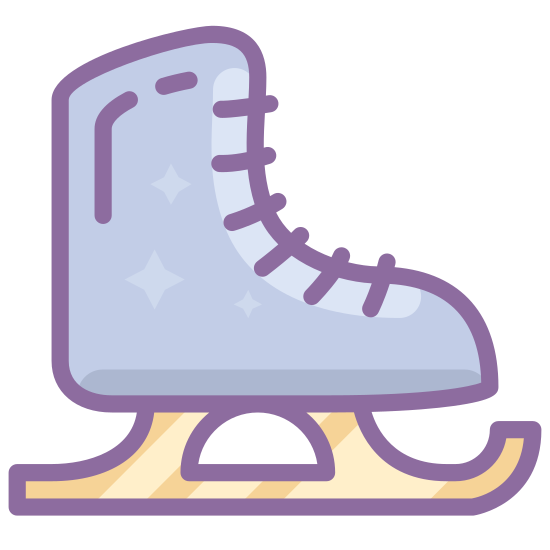 Ice Skate icon. It is an ice skate. It looks like a boot with laces all up the front. On the bottom of the boot a curve comes out at the heel and the toe, it's attached to a ski that is turned up at the front.